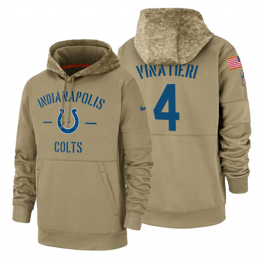 Indianapolis Colts #4 Adam Vinatieri Nike Tan 2019 Salute To Service Name & Number Sideline Therma Pullover Hoodie