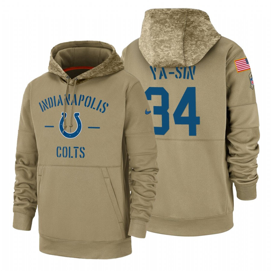 Indianapolis Colts #34 Rock Ya-Sin Nike Tan 2019 Salute To Service Name & Number Sideline Therma Pullover Hoodie