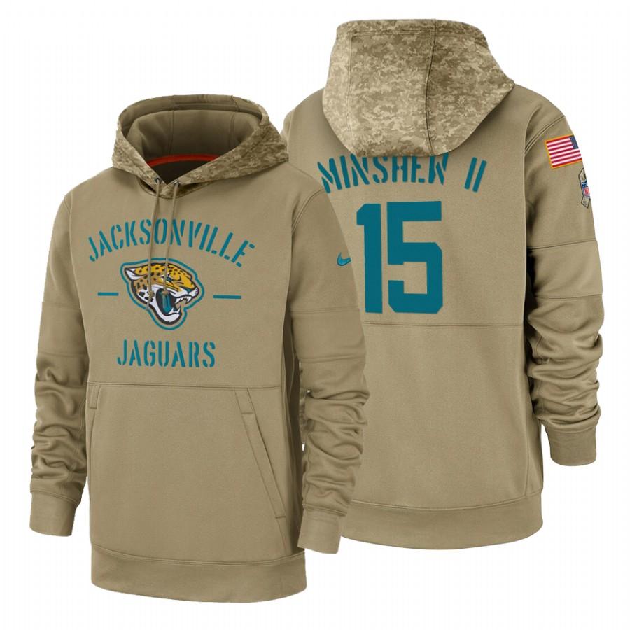 Jacksonville Jaguars #15 Gardner Minshew II Nike Tan 2019 Salute To Service Name & Number Sideline Therma Pullover Hoodie