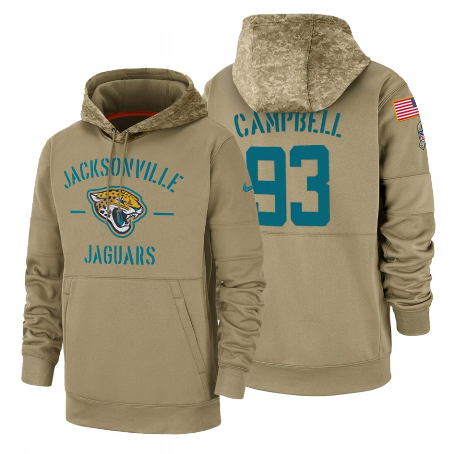 Jacksonville Jaguars #93 Calais Campbell Nike Tan 2019 Salute To Service Name & Number Sideline Therma Pullover Hoodie