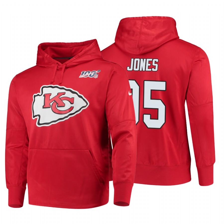 Kansas City Chiefs #95 Chris Jones Nike NFL 100 Primary Logo Circuit Name & Number Pullover Hoodie Red