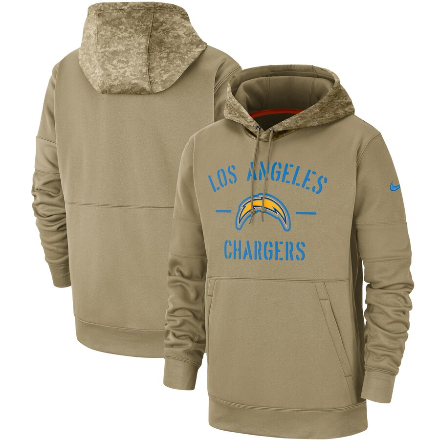Men's Los Angeles Chargers Nike Tan 2019 Salute to Service Sideline Therma Pullover Hoodie