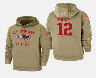 Men's New England Patriots #12 Tom Brady 2019 Salute to Service Sideline Therma Hoodie