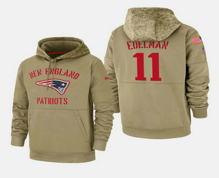 Men's New England Patriots #11 Julian Edelman 2019 Salute to Service Sideline Therma Pullover Hoodie