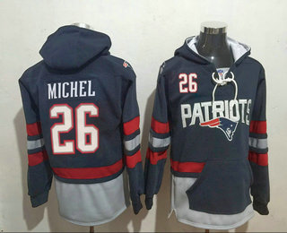 Men's New England Patriots #26 Sony Michel 2016 Navy Blue Team Color Stitched NFL Hoodie