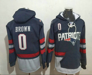 Men's New England Patriots #0 Antonio Brown 2016 Navy Blue Team Color Stitched NFL Hoodie