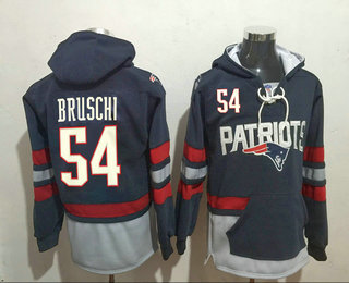 Men's New England Patriots #54 Tedy Bruschi 2016 Navy Blue Team Color Stitched NFL Hoodie