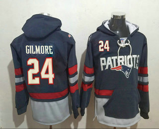 Men's New England Patriots #24 Stephon Gilmore 2016 Navy Blue Team Color Stitched NFL Hoodie