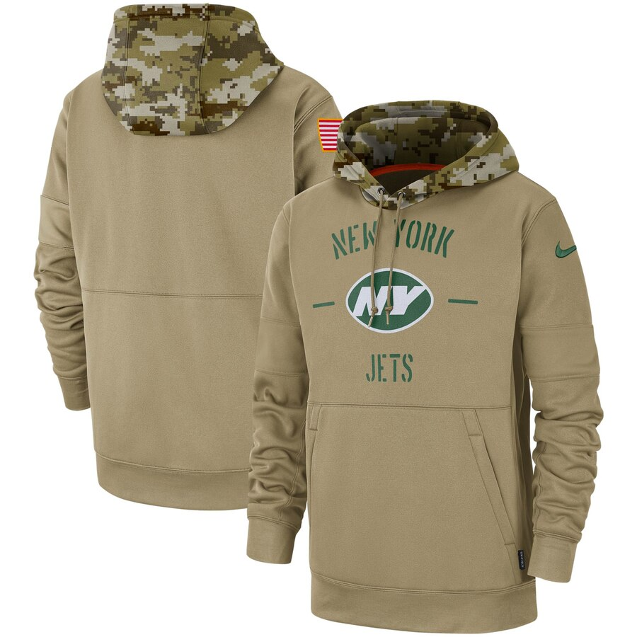 Men's New York Jets Nike Tan 2019 Salute to Service Sideline Therma Pullover Hoodie