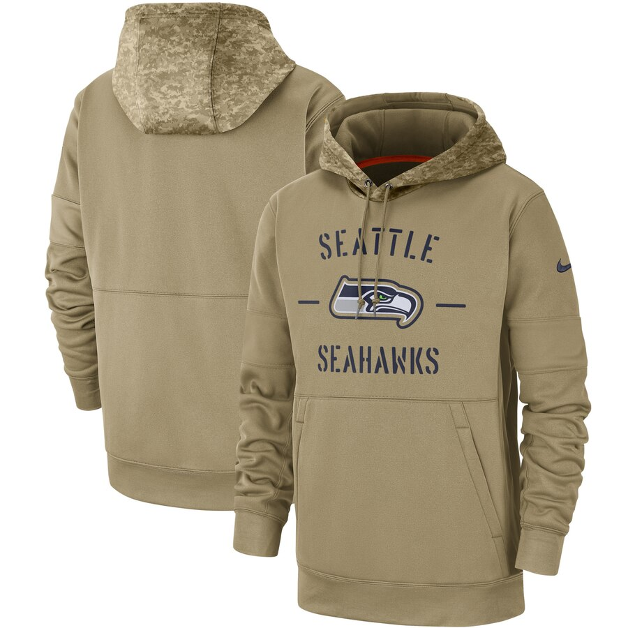 Men's Seattle Seahawks Nike Tan 2019 Salute to Service Sideline Therma Pullover Hoodie