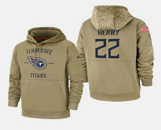 Men's Tennessee Titans #22 Derrick Henry 2019 Salute to Service Sideline Therma Pullover Hoodie