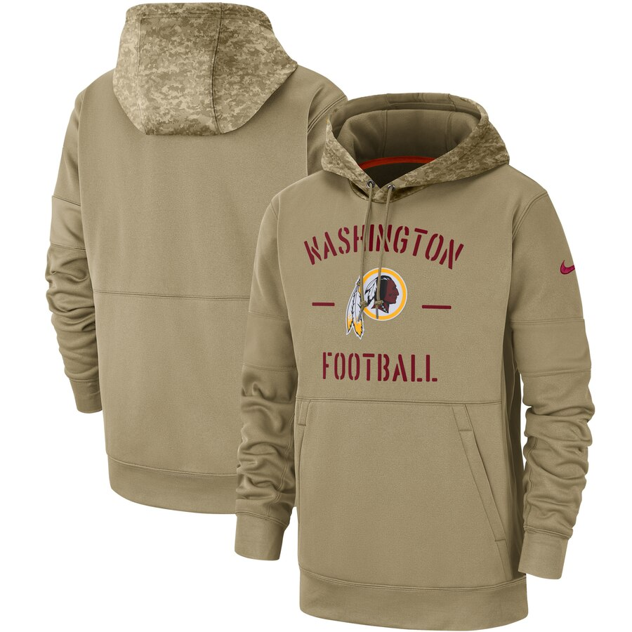 Men's Washington Redskins Nike Tan 2019 Salute to Service Sideline Therma Pullover Hoodie
