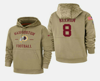 Men's Washington Redskins #8 Case Keenum 2019 Salute to Service Sideline Therma Pullover Hoodie