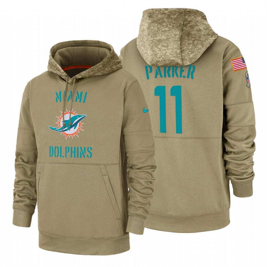 Miami Dolphin #11 Devante Parker Nike Tan 2019 Salute To Service Name & Number Sideline Therma Pullover Hoodie