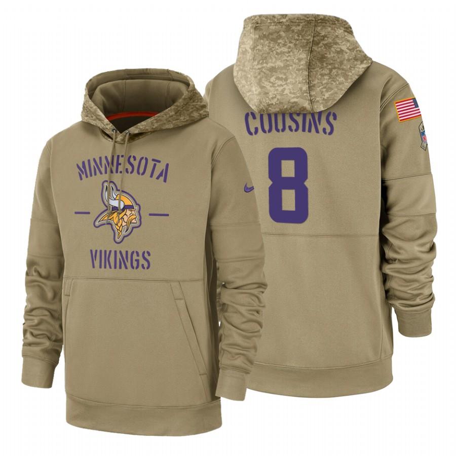 Minnesota Vikings #8 Kirk Cousins Nike Tan 2019 Salute To Service Name & Number Sideline Therma Pullover Hoodie