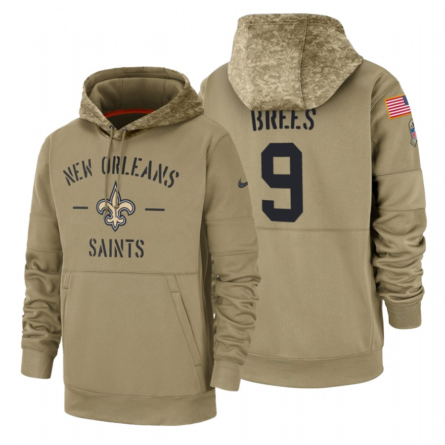 New Orleans Saints #9 Drew Brees Nike Tan 2019 Salute To Service Name & Number Sideline Therma Pullover Hoodie