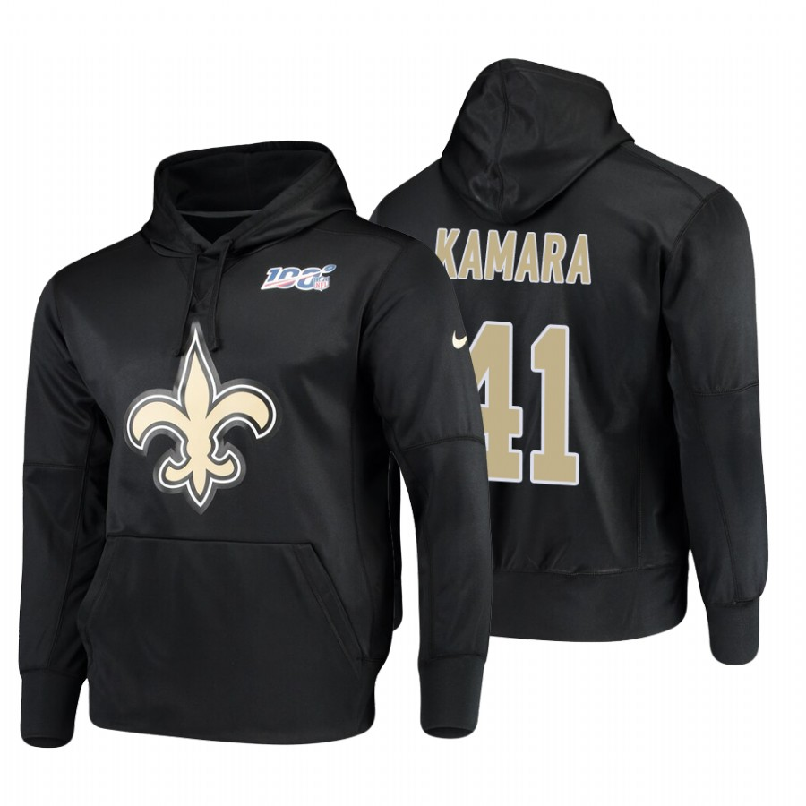 New Orleans Saints #41 Alvin Kamara Nike NFL 100 Primary Logo Circuit Name & Number Pullover Hoodie Black