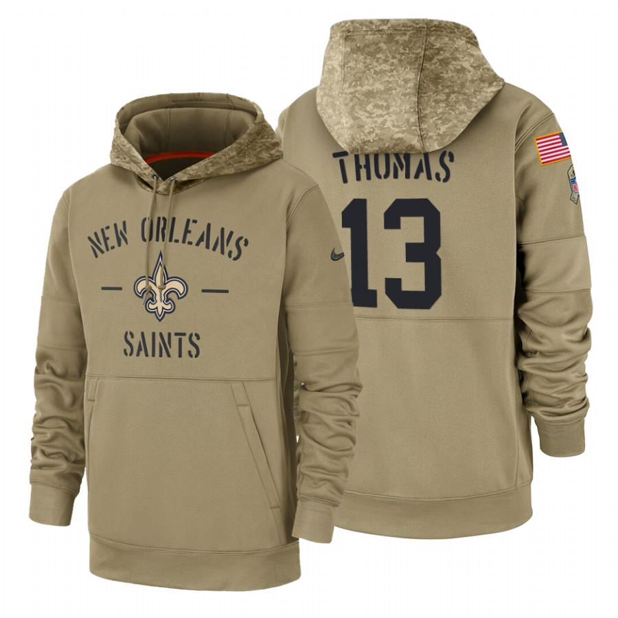 New Orleans Saints #13 Michael Thomas Nike Tan 2019 Salute To Service Name & Number Sideline Therma Pullover Hoodie