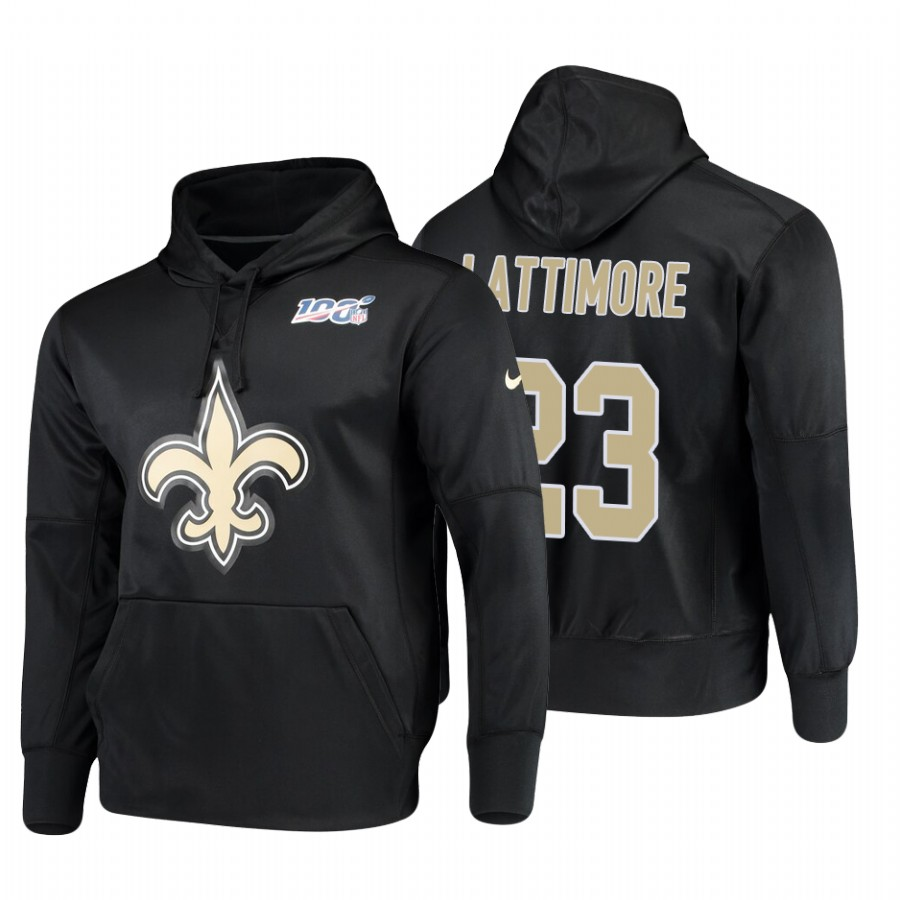 New Orleans Saints #23 Marshon Lattimore Nike NFL 100 Primary Logo Circuit Name & Number Pullover Hoodie Black