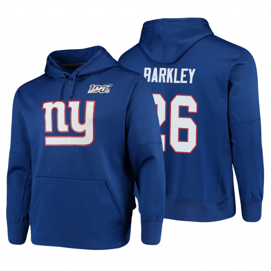 New York Giants #26 Saquon Barkley Nike NFL 100 Primary Logo Circuit Name & Number Pullover Hoodie Royal