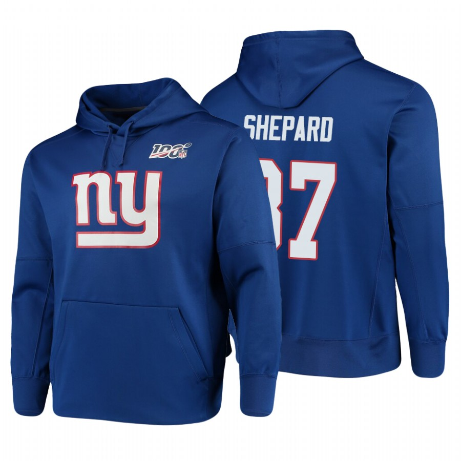 New York Giants #87 Sterling Shepard Nike NFL 100 Primary Logo Circuit Name & Number Pullover Hoodie Royal