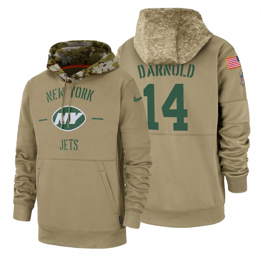 New York Jets #14 Sam Darnold Nike Tan 2019 Salute To Service Name & Number Sideline Therma Pullover Hoodie