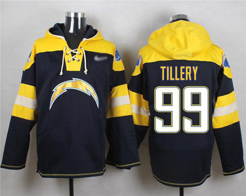 Nike Chargers #99 Jerry Tillery Navy Blue Player Pullover Hoodie