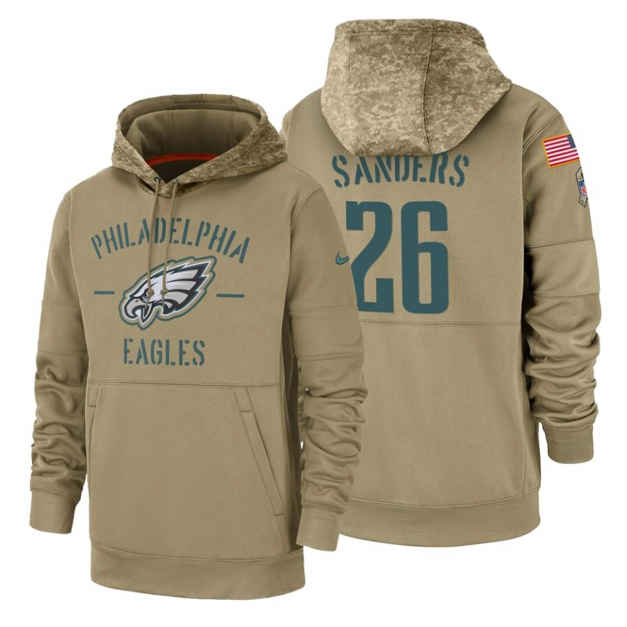 Philadelphia Eagles #26 Miles Sanders Nike Tan 2019 Salute To Service Name & Number Sideline Therma Pullover Hoodie