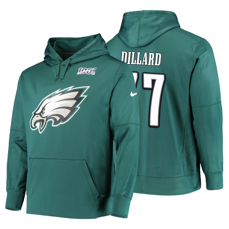Philadelphia Eagles #77 Andre Dillard Nike NFL 100 Primary Logo Circuit Name & Number Pullover Hoodie Midnight Green