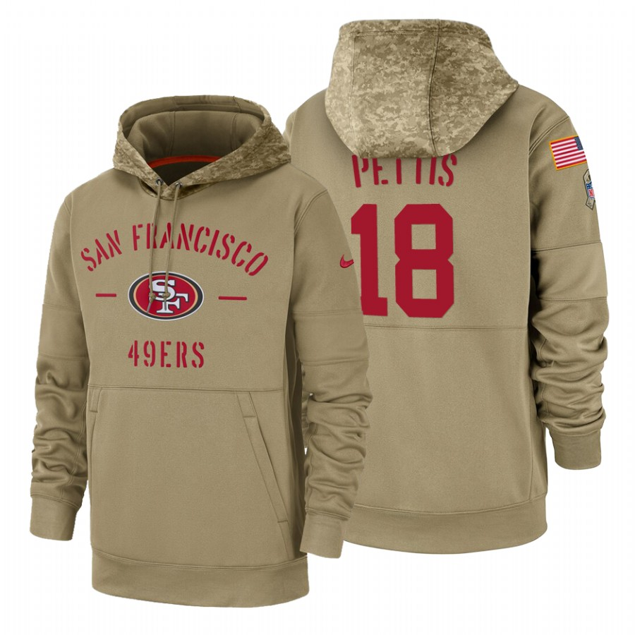 San Francisco 49ers #18 Dante Pettis Nike Tan 2019 Salute To Service Name & Number Sideline Therma Pullover Hoodie