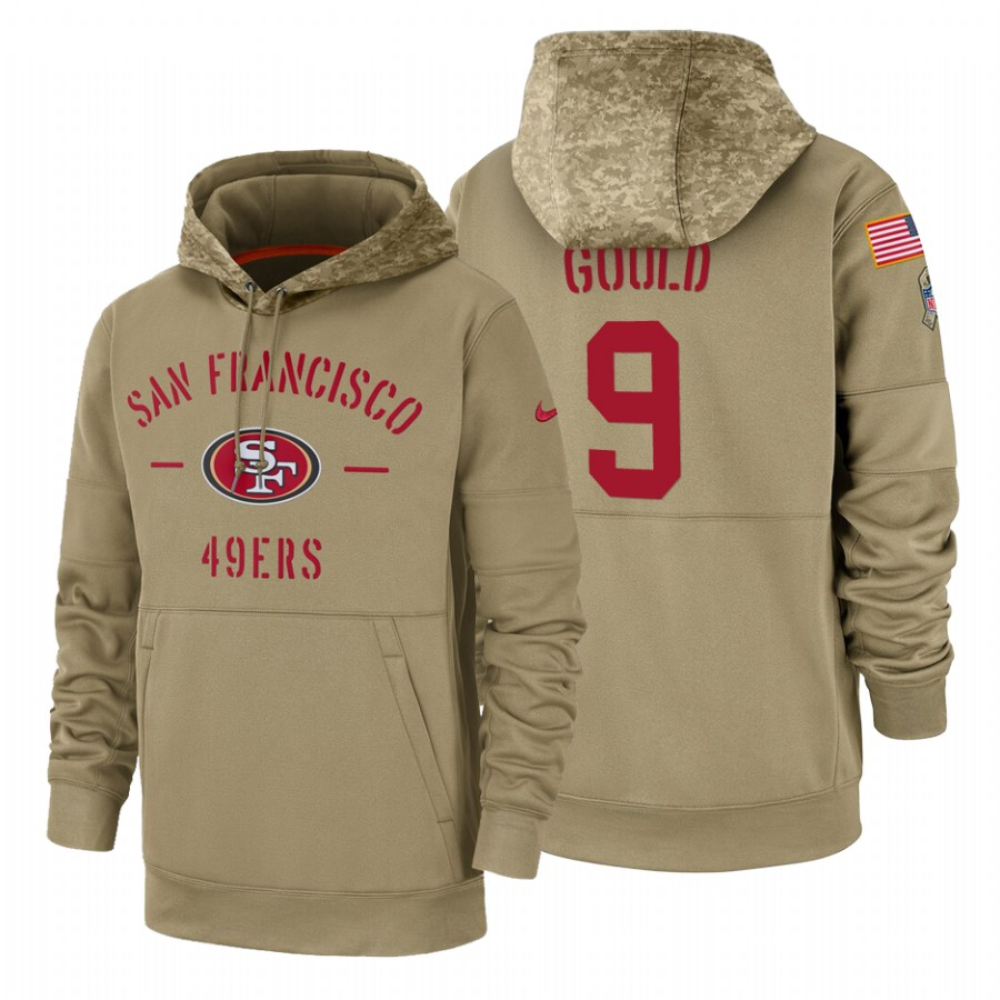 San Francisco 49ers #9 Robbie Gould Nike Tan 2019 Salute To Service Name & Number Sideline Therma Pullover Hoodie