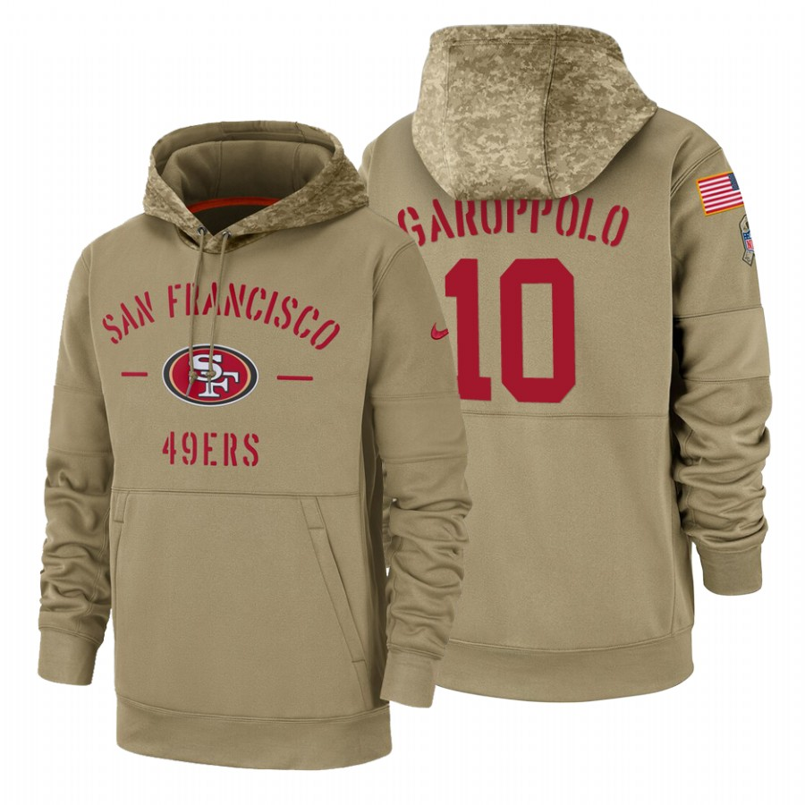 San Francisco 49ers #10 Jimmy Garoppolo Nike Tan 2019 Salute To Service Name & Number Sideline Therma Pullover Hoodie