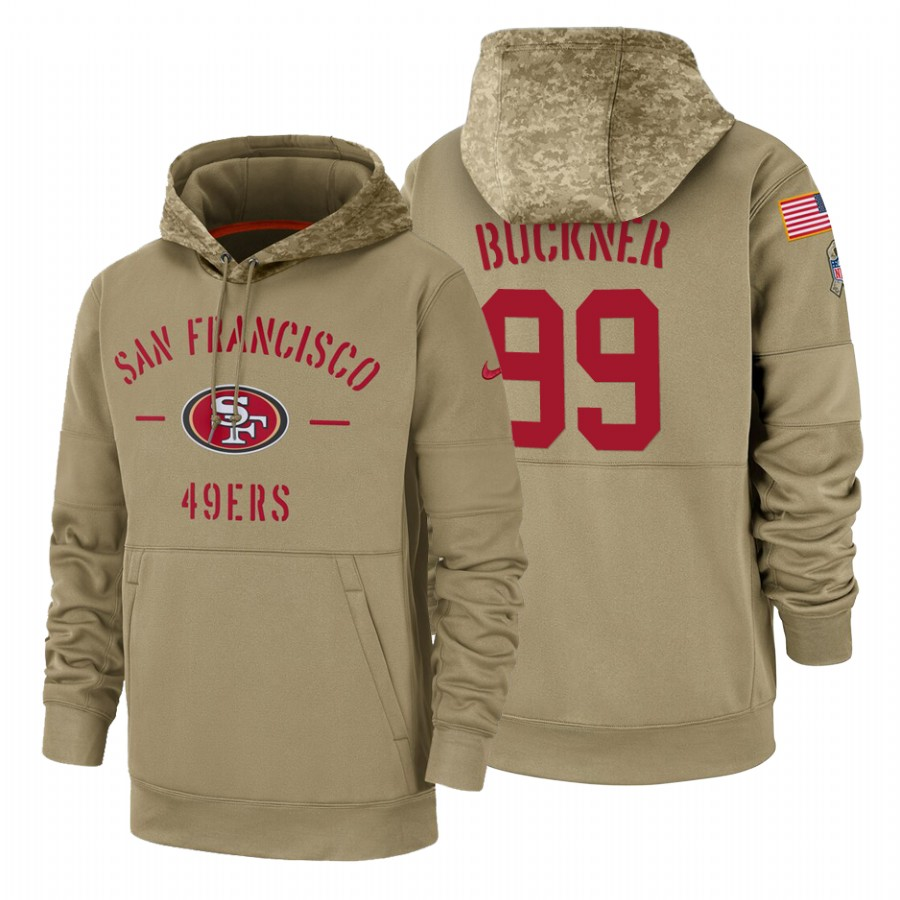 San Francisco 49ers #99 Deforest Buckner Nike Tan 2019 Salute To Service Name & Number Sideline Therma Pullover Hoodie
