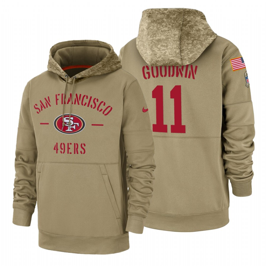 San Francisco 49ers #11 Marquise Goodwin Nike Tan 2019 Salute To Service Name & Number Sideline Therma Pullover Hoodie