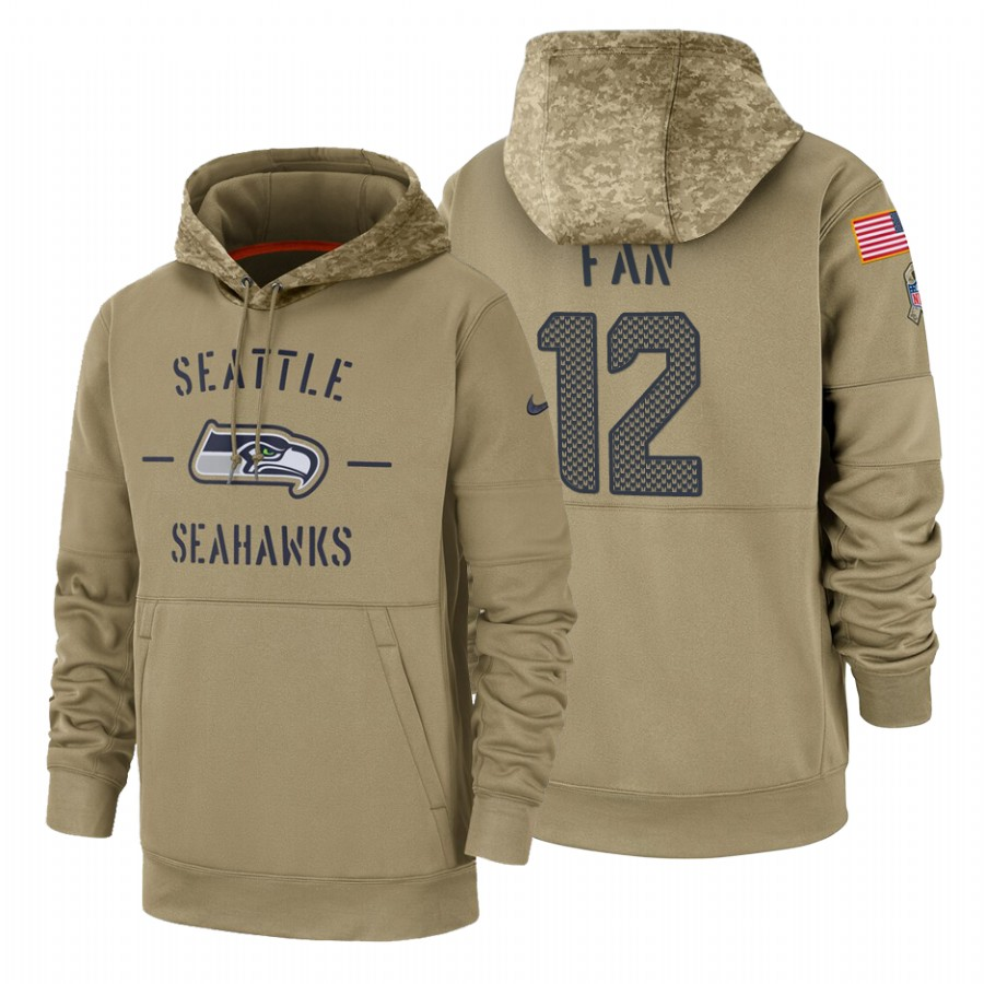 Seattle Seahawks #12 Fan Nike Tan 2019 Salute To Service Name & Number Sideline Therma Pullover Hoodie