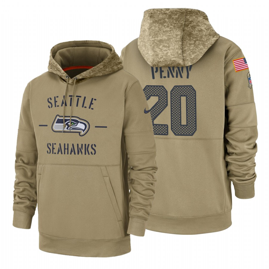 Seattle Seahawks #20 Rashaad Penny Nike Tan 2019 Salute To Service Name & Number Sideline Therma Pullover Hoodie