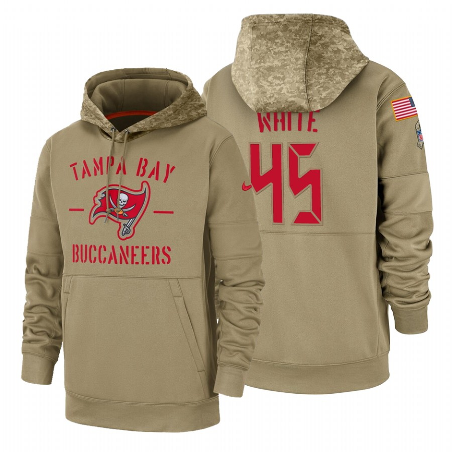 Tampa Bay Buccaneers #45 Devin White Nike Tan 2019 Salute To Service Name & Number Sideline Therma Pullover Hoodie
