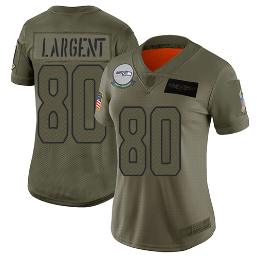 Nike Seahawks #80 Steve Largent Camo Women's Stitched NFL Limited 2019 Salute to Service Jersey