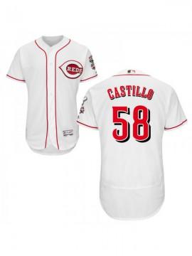 Men's Cincinnati Reds #58  Authentic White Home Flex Base Jersey