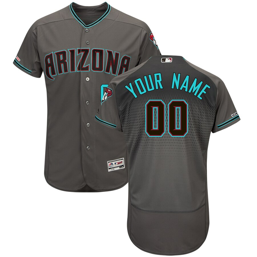 Men's Arizona Diamondbacks Majestic Gray Teal Flex Base Authentic Custom Jersey