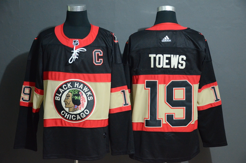Blackhawks 19 Jonthan Toews Premier Black New Third Adidas Jersey