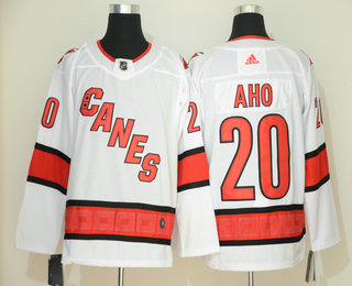 Men's Carolina Hurricanes #20 Sebastian Aho White NEW 2019 Adidas Stitched NHL Jersey