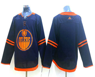 Men's Edmonton Oilers Blank Navy Blue 50th Anniversary Adidas Stitched NHL Jersey