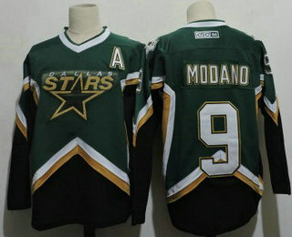 Men's Dallas Stars #9 Mike Modano 2005 Green CCM Throwback Stitched Vintage Hockey Jersey