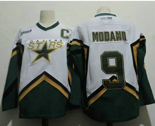 Men's Dallas Stars #9 Mike Modano 2005 White CCM Throwback Stitched Vintage Hockey Jersey