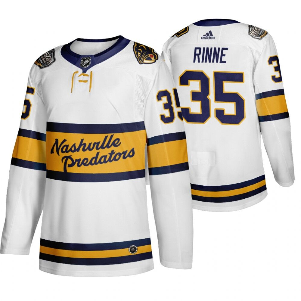 Men's Nashville Predators 35 Pekka Rinne White 2020 Winter Classic Adidas Jersey