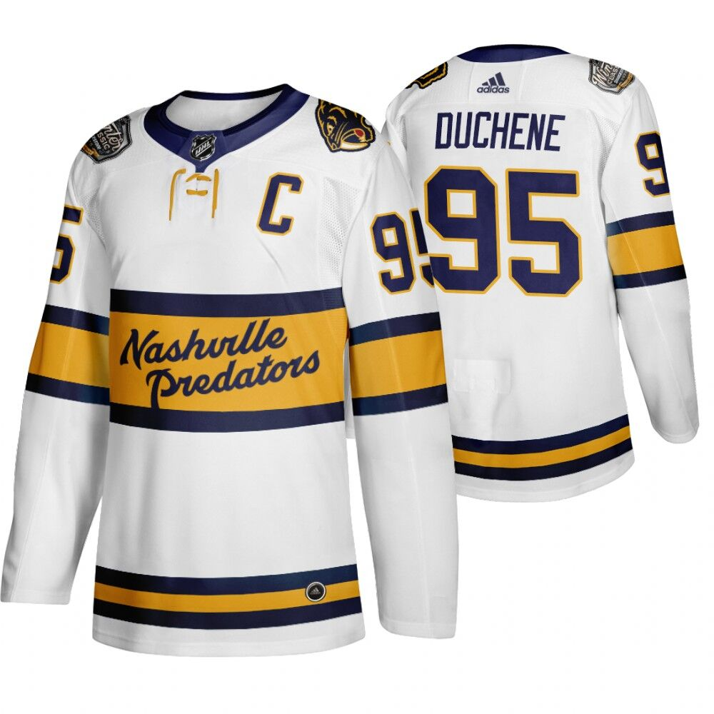 Men's Nashville Predators 95 Matt Duchene White 2020 Winter Classic Adidas Jersey