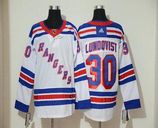 Men's New York Rangers #30 Henrik Lundqvist White Adidas Stitched NHL Jersey