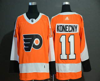 Men's Philadelphia Flyers #11 Travis Konecny Orange Adidas Stitched NHL Jersey