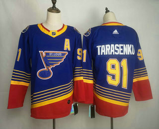 Men's St. Louis Blues #91 Vladimir Tarasenko Blue Adidas Stitched NHL Throwback Jersey